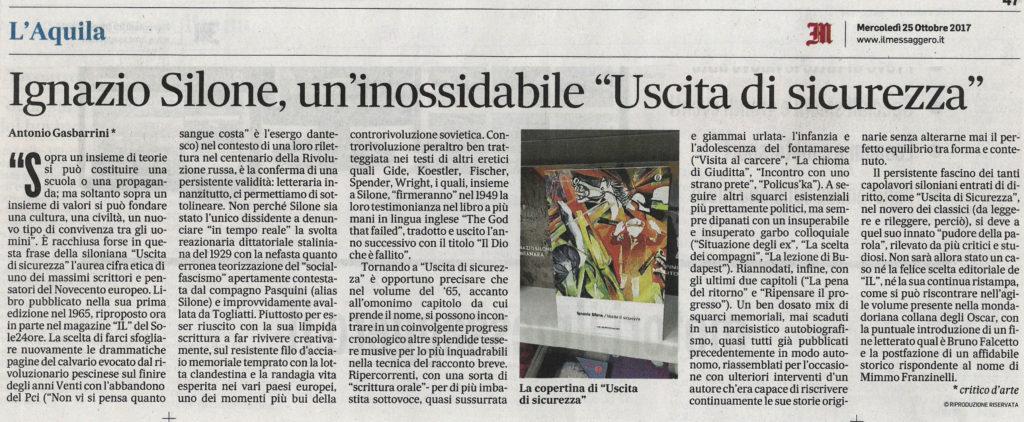 """Ignazio Silone: un'inossidabile """"Uscita di sicurezza"""""""